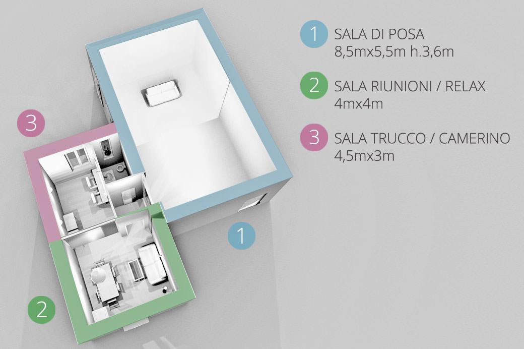 La Pianta dello Studio Fotografico Studio154