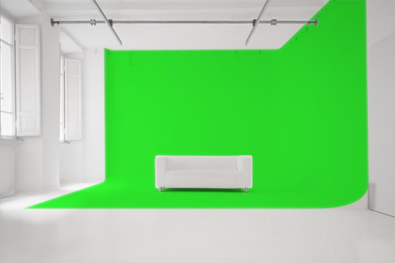 Sala di posa limbo green-screen